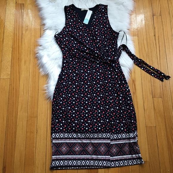 Le Lis Womens Dress Size Small Navy Blue Stitch Fix Polka Dot Sleeveless Wrap